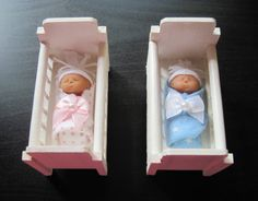 One Miniature Polymer Clay Bundled Baby in One Crib White or Natural by LaurelArts
