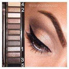 #tbt! Super quick/easy naked 2 palette look I did a few weeks ago. 1.) inner lid. 2.) middle lid. 3.) crease. 4.) brow bone. 5.) lower lash line. Apply liner