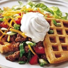 Fold each waffle diagonally in half and fill with beef and remaining ingredients for Taco Waffles!