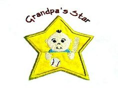 Grandpa's Star App Pocket 5x7 | Baby | Machine Embroidery Designs | SWAKembroidery.com Oma's Place