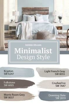 If you live by the motto, Keep it simple, this ColorSnap Color ID Minimalist paint palette from Sherwin-Williams is for you. Ready to add streamlined, uncluttered style to your bedroom? Tap this pin to explore all of the colors. Paint Colors For Home, House Colors, Paint Colours For Bedrooms, Paint Ideas For Bedroom, Furniture Paint Colors, Gray Living Room Walls, Revere Pewter Living Room, Bedroom Wall Paint Colors, Playroom Paint Colors