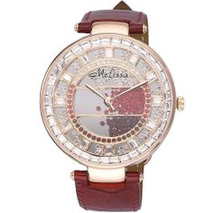 MELISSA Women's Luxury Quicksand Diamond Ladies Watch Color Red