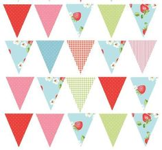 35 or 45 Edible Strawberry Shabby Chic Bunting Cake | Cupcake Topper