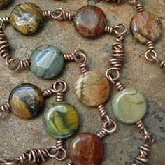 wire wrapping/looping + beads - Cherry Creek Jasper