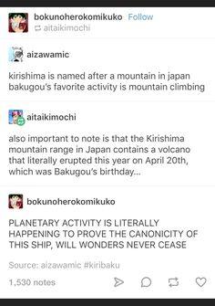 Kiribaku <<< Bakugou would surely like to climb this Kirishima mountain ;)