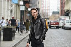 Sandro Paris biker-style Minimal Jacket paired with a Hoodie Cardigan | details on http://iamgalla.com/2016/04/r-e-l-i-n-q-u-i-s-h-sandro-x-gq/
