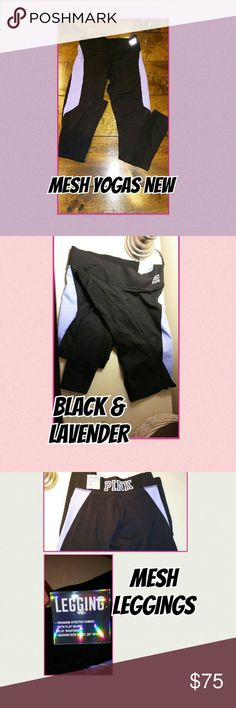 Victoria's Secret Pink mesh Yogas! A sexy way to spice up your workout! Black with black mesh & a hint of purple! These are the most popular, fastest selling yoga there are! BUNDLE & SAVE PINK Victoria's Secret Pants Leggings
