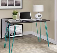 Retro Desk ($59.87). Hairpin legs are perfect not only for sleek design, but also placement in cramped living areas. The retro styled desk stands out in any room as a source of personality. The 40-inch wide top makes this the perfect desk for when space is at a premium but style is not negotiable. This modern take on industrial vintage will complement any interior quite well.