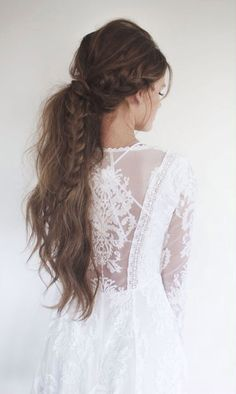 messy ponytail with fishtail braid ~ we ❤ this! moncheriprom.com