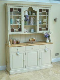 Beautiful Shabby Chic Glazed Welsh Dresser painted in Farrow & Ball Off White   eBay