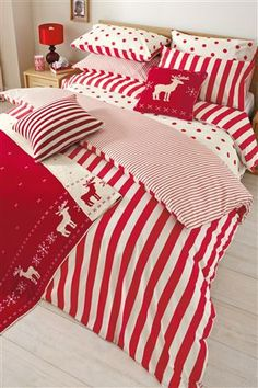 Bedroom 2 -   Red Stripe Print Duvet And Pillowcase Set (Two Pack) : Double £35