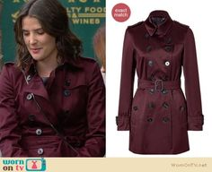 Robin's red/burgundy/wine satin trench coat on How I Met Your Mother. Outfit Details: http://wornontv.net/11919/ #HIMYM