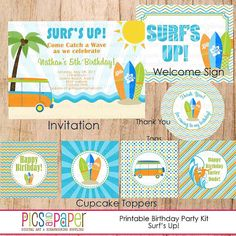 Surf Theme Birthday Party Kit with surfboard, beach, van -Cupcake Toppers, Bunting Banners, Water Bottle Labels