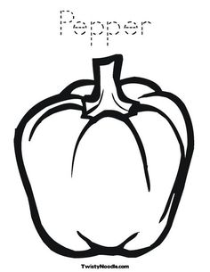 Pepper Coloring Page, Coloring Page Template Printing Printable Food Coloring Pages for Kids, Pepper, Paprica Vegetable Coloring Pages, Coloring Book Pages, Coloring Sheets, Applique Patterns, Embroidery Applique, Vegetable Crafts, Stencil Designs, Stuffed Green Peppers, Applique Designs