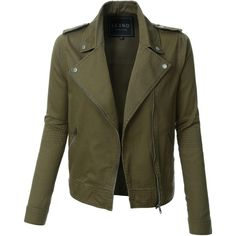 LE3NO Womens Cropped Long Sleeve Zip Up Moto Military Jacket ($37) ❤ liked on Polyvore featuring outerwear, jackets, asymmetrical zip jacket, cotton military jacket, lightweight field jacket, cropped army jacket and army jacket