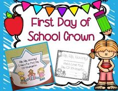 I created these first day of school crowns for my kindergarten students to create and wear home on the first day of school. I have also included a template for preschool, pre-k, second, and first. Enjoy! Preschool First Day, September Preschool, Beginning Of Kindergarten, Kindergarten Freebies, First Day Of School Activities, First Day School, Beginning Of The School Year, New School Year, Pre School