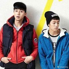 Bellos 💙 #ParkSeoJoon #LeeHyunWoo Lee Hyun Woo, Park Seo Joon, Bellisima, Rain Jacket, Windbreaker, Athletic, Jackets, Fashion, Down Jackets