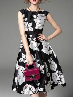 StyleWe: Mooerkerr Floral Print Swing Midi Dress