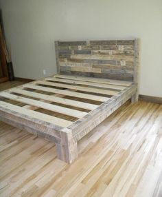 Pallet Furniture Projects DIY Pallet Bed Plans More - A bed serves it well by providing comfortable environment for rest. we can prepare different kinds of bed plans using pallet. Diy Pallet Bed, Diy Pallet Projects, Furniture Projects, Pallet Wood Bed Frame, Pallet Gift Ideas, Wooden Pallet Beds, Reclaimed Wood Projects, Unique Home Decor, Home Decor Items