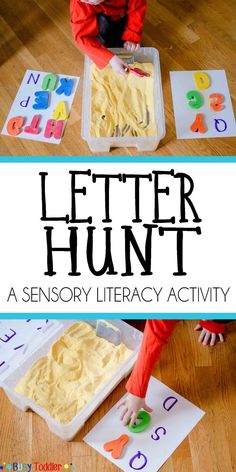 Hunt for Early Literacy Letter Hunt for Early Literacy: A sensory literacy activity for toddlers and preschoolers learning the alphabet.Letter Hunt for Early Literacy: A sensory literacy activity for toddlers and preschoolers learning the alphabet. Toddler Preschool, Preschool Activities, Preschool Letters, Indoor Activities, Summer Activities, Teaching Toddlers Abc, Preschool Alphabet Activities, Learning Numbers Preschool, Baby Learning Activities