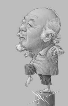 Pat Morita by Mecho #Caricature - http://dunway.com.                     ✿ ❀ ❁✿ For more great pins go to @KaseyBelleFox