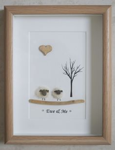 Pebble Art framed Picture Sheep Ewe & Me