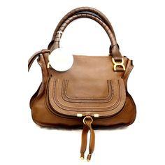 Chloe Marcie Satchel Brown Pebbled Leather Medium Shoulder Bag