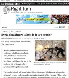 """June 13, 2013 - ARTICLE - US FOREIGN POLICY - OBAMA ADMINISTRATION - RED LINE CROSSED - ARMING REBELS - Shows them to trust the words of President Obama. They should have known that his vow to Elie Wiesel to do """"everything"""" we could to help the Syrian people really meant we will do nothing of consequence. Shame on them for believing """"game changer"""" and """"red line"""" meant game changer and red line."""