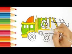 How to drawing and coloring Garbage truck Garbage Truck, Kids Tv, Coloring For Kids, Trucks, Drawings, Colors, Truck, Sketches, Colour