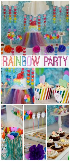 A rainbow themed girl birthday party with a fun backdrop, cupcakes and chocolate cake pops! See more party planning ideas at CatchMyParty.com!