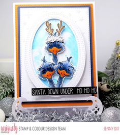 News - Uniquely Creative Aussie Christmas, Summer Christmas, Christmas Minis, Santa Stamp, White Pen, Creative Cards, Clear Stamps, Homemade Cards, Cardmaking