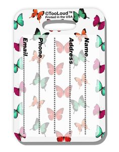 TooLoud Pretty Butterflies AOP Luggage Tag Dual Sided All Over Print