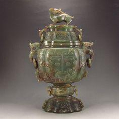 Vintage Chinese Natural Hetian Jade Low Relief Incense Burner