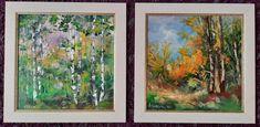 """O pădure comună, cu mesteceni, varianta de vară și cea de toamnă. Arbori inconfundabili, și după cum zicea o clientă: """"Singurii copaci care știu sigur ce sunt, după scoarța albă :)"""" Painting, Painting Art, Paintings, Painted Canvas, Drawings"""