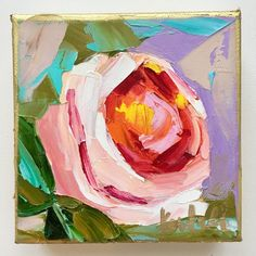 - 5 x 5 original oil painting on gallery wrapped canvas - in. Oil Painting Flowers, Abstract Flowers, Oil Painting On Canvas, Canvas Paintings, Roses Painting Acrylic, Sunflower Paintings, Rose Paintings, Flower Canvas Art, Small Canvas Art