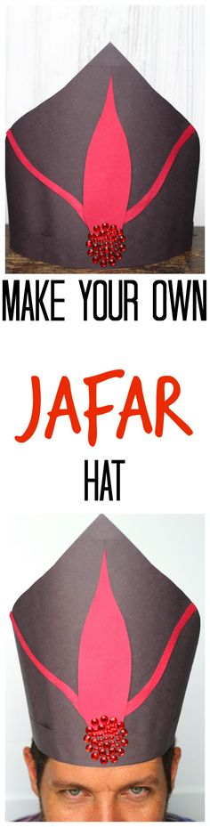 Learn how to make your own Disney's Descendants construction paper Jafar hat from Disney's Aladdin! Kids will love doing this easy craft! Aladdin Musical, Aladdin Party, Aladdin Movie, Aladdin Theater, Jafar Costume, Aladdin Costume, Disney Costumes, Family Halloween Costumes, Scary Halloween