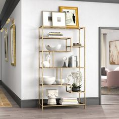 Everly Quinn These beautifully scaled and designed bookcases, etageres, and curios offer the best home your books, mementos, and cherished photos will ever have. Open Bookcase, Cube Bookcase, Etagere Bookcase, Hooker Furniture, Living Room Furniture, Furniture Decor, Modern Furniture, Tempered Glass Shelves, Living Room Designs