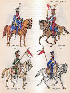 Lanciere del 1 rgt. lancieri polacchi e lanciere del 2 rgt. lancieri olandesi della guardia imperiale francese; lanciere della linea francese e lanciere della linea polacco