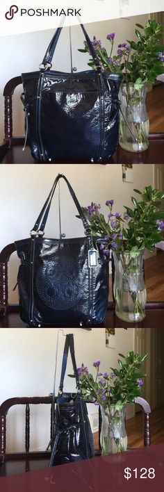 """Coach Audrey Patent Leather Cinch North South Tote Coach 19571 Audrey Patent Leather Cinch North South Tote Navy Retail Price: $298 Patent leather 13"""" (L) x 11"""" (H) x 4""""(D) Handles with 8"""" drop No long strap Open top with dog-leash clip closure Silver-toned hardware Two Coach hangtags Back open pocket, Inside zip, cell phone and multifunction open pockets,this bag is used but in great condition..from smoke & pet free home..100% authentic Coach Bags Totes"""