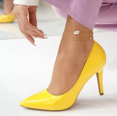 Pantofi Dama cu Toc Alexis Galbeni