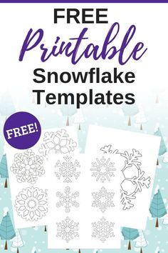 These free printable snowflake templates are so handy for holiday crafts! Make your on snowflake ornaments, snowflake garland, or even window clings with these snowflake printables! Snowflake Stencil, Snowflake Template, Ornament Template, Snowflake Craft, Snowflake Garland, Paper Snowflakes, Templates Printable Free, Free Printable Coloring Pages, Free Printables