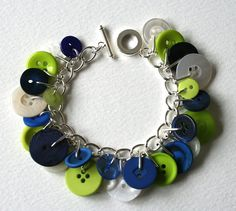Lime Navy and Pearl Button Charm Bracelet  http://www.etsy.com/listing/77207348/lime-navy-and-pearl-button-charm