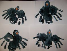 Greatest Resource - Fall Preschool Lessons - Handprint Crows