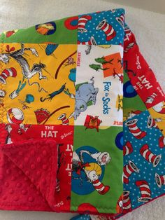 Soft  Minky & Cotton Baby Girl or Boy Patchwork Blanket~Crib Nursery~Toddler Blanket~Dr Seuss~Red~Blue~Green~Yellow