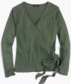 e99365cde58 J. Crew Women's Wrap and Tie Top - Olive Green - Size Small #fashion