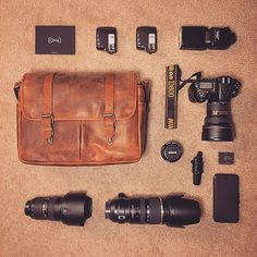 We never get tired of seeing what photographers stuff into their ONA bags! CJ shows us how his Nikon kit, from camera to lenses to radio triggers and more, all fit into his Leather Brixton. // #onabags #InMyONA