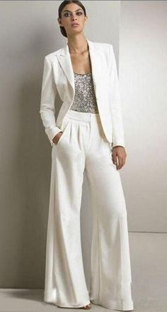 2017 Bling Sequins Ivory White Pants Suits Mother Of The Bride Dresses Formal Chiffon Tuxedos Women Party Wear New Fashion #womenpantssuits