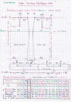 Cette jupe ce trace depuis , les Milieux , la ligne de taille et de la ligne de bassin : les aisances sont # de la jupe de base ! zoom = clic l'img tableau ci dessus pour tracer toute les tailles standart T34 àT62