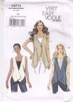 Vests Close Fitting 2 Lengths Vogue Sewing Pattern Size 16-24 Easy #Vogue8713 #vests