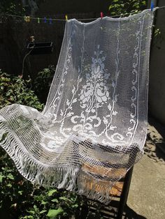 hand crocheted vintage french curtain lace door by HatchedinFrance, $49.00